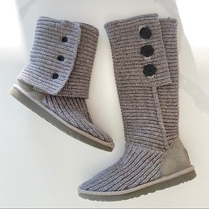 UGG Cardy Knit Boots - Women's Classic Grey 8